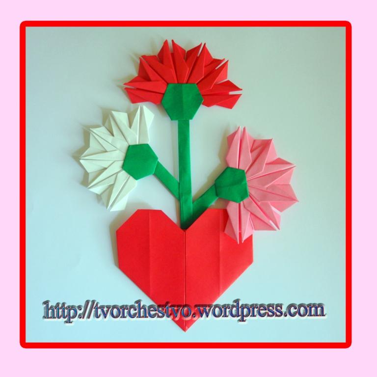 Формат размер, цветы оригами на открытку