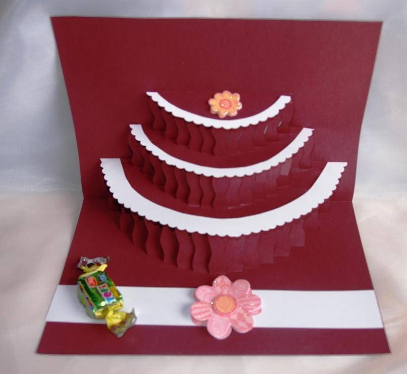 Наступающим, как сделать объемный торт в открытке детская поделка