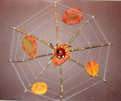 Осенняя поделка паук с паутиной