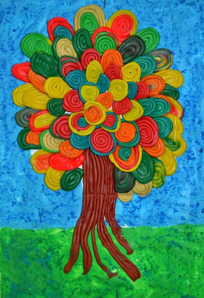 Дерево из пластилина своими руками фото