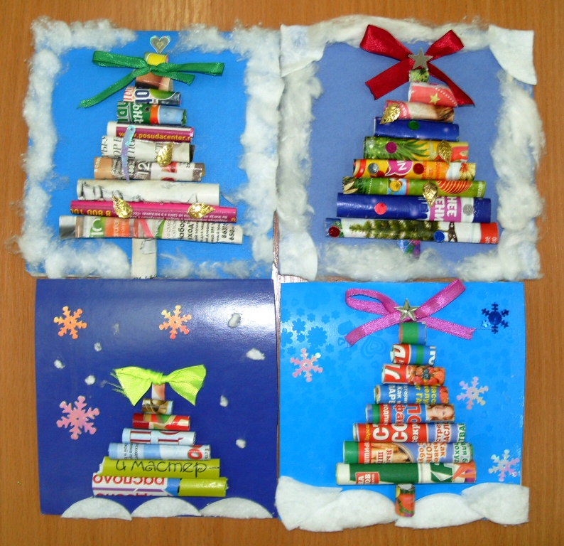 Новогодние открытки начальная школа